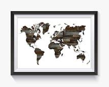 Wood Print, Wood, Wood Decor, Wall Art, Wood Art, World Map, Travel Map, Large World Map, Map of the World, World Map Print, Printable Map