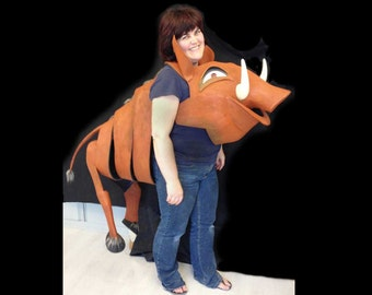 Pumbaa costume ADULT SIZE. Lion King Musical. Hand made. Eco & animal friendly. Head and Body. Pumba warthog for women, men.