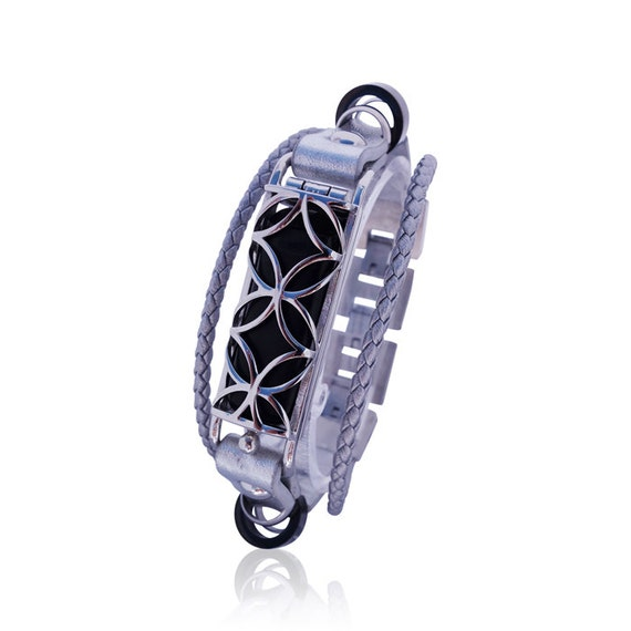 Bracelet Fusion 2 - Flex Jewelry - Silver - made from stainless steel and leather
