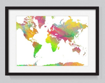 Map of the world designed from watercolors 9 - World Map Series