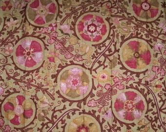 BRUNSCHWIG & FILS DZHAMBUL Suzani Medallions Linen Fabric 10 Yards Mocha Rose Multi