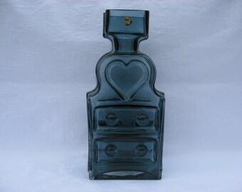 Glass vase, Piironki. Design: Helena Tynell, Riihimäen lasi. Made in Finland Mid Century Modern. Finnish design