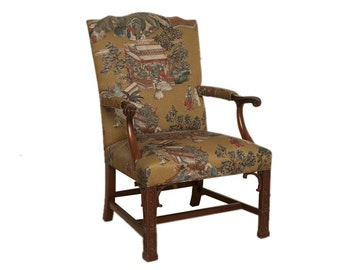CLEARANCE-Asian-Motif Carved Armchair; Asian Chair; Upholstered Asian Chair