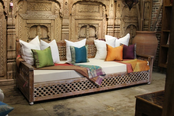 Moroccan Carved Teak Daybed Bohemian Indian Carved Daybed