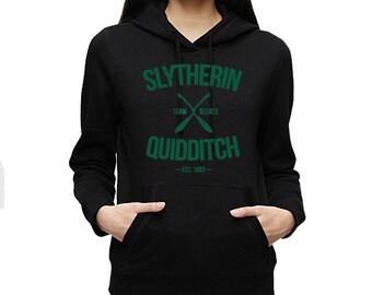 Slytherin Quidditch Team Seeker Adult Unisex Black Hoodie with green ink