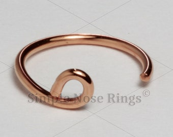 """10kt Solid Gold Fake Lip Ring Hoop, Fake Lip Cuff, Faux Lip Ring 8mm 5/16"""" or 10mm 3/16"""", Yellow, White or Rose Gold, 1 piece"""
