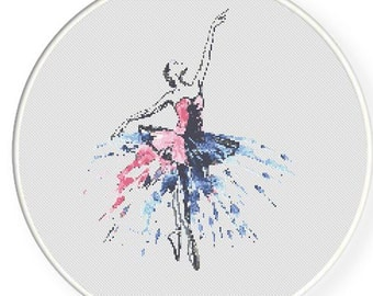 MORE for FREE - Ballet in colors - Counted Cross stitch pattern PDF - Instant Download - Cross Stitch Pattern -Dance-Love- Needlepoint #1447