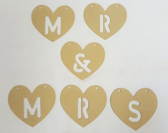 Mr & Mrs Wooden Heart Bunting - wedding decoration UNPAINTED