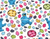 zm018 - 1 Yard SDLP Cotton Woven Fabric - Cartoon Characters, Sesame Workshop Cookie Monster and Biscuits - White (W140)
