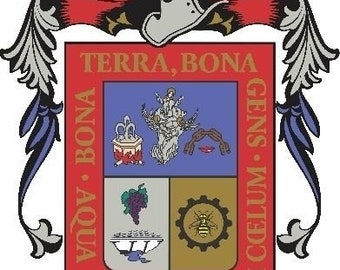 2 Pieces Aguascalientes Mexico. Coat Of ArmsDecals Stickers Full Color/Weather Proof. U.S.A Free Shipping