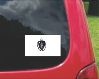 2 Pieces Massachusetts  State Flag Vinyl Decals Stickers Full Color/Weather Proof. U.S.A Free Shipping