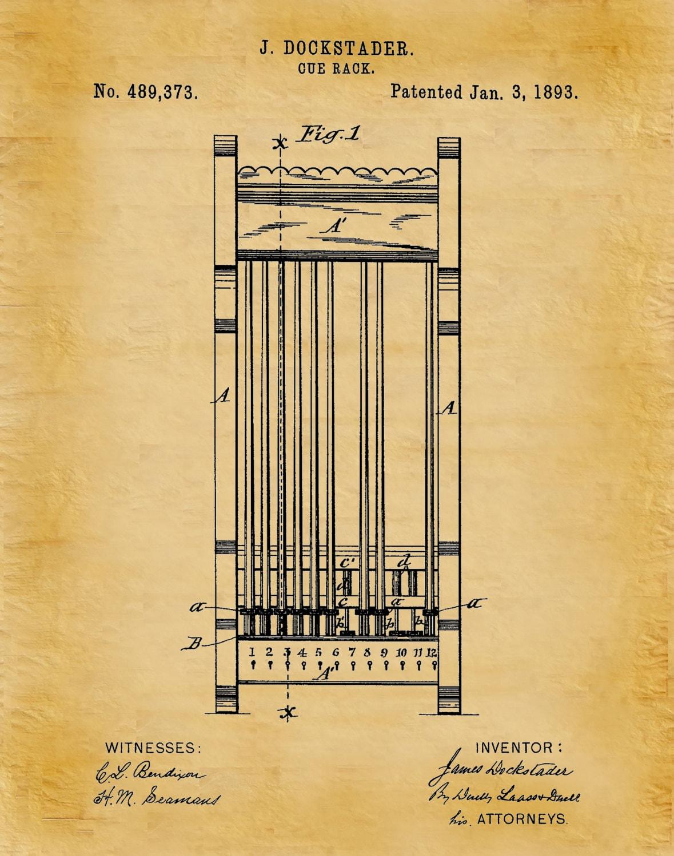 Patent 1893 Pool Cue Rack Art Print Poster Wall Art
