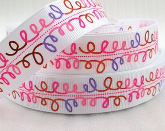 7/8 inch Pink Red Purple Foil Doodle Swirls on White - Printed Grosgrain Ribbon 1044384 for Hair Bow