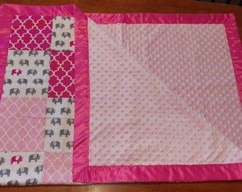 Pink and Gray Elephant Baby/Toddler blanket