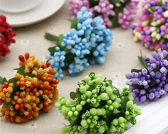 8 Bunches of 12-Pip Berries, Wired Millinery Flower Stamen, Christmas Pip Berries,Pip Berry Cluster,Floral Stamens,Flowers Supply(153-53)