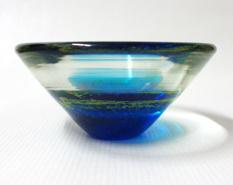 Mdina conical 'Sea and Sand' art glass bowl/dish, 70s vintage, Michael Harris Malta, teal blue/gold/clear round ashtray. Retro Seventies