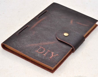 vintage leather journal, custom personalized  monogram A6 size journal  notebook (free Initials )
