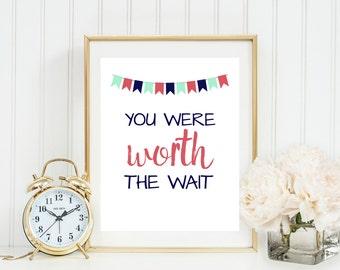 You Were Worth the Wait Print, Adoption printable, boy girl nursery wall art, Coral Mint and Navy Nursery Decor, Gray Frames Digital Print