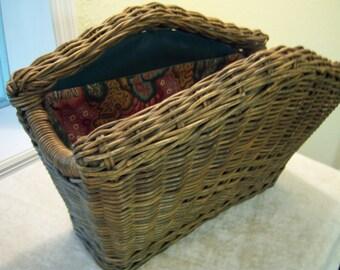 Woven wicker magazine basket/Fabric lined wicker basket/Craft storage basket/Organization