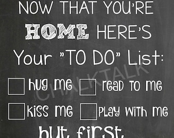 Military Homecoming Sign - Military Sign - Military Chalkboard Homecoming Sign - Welcome Home Dad - Printable - Photo Prop