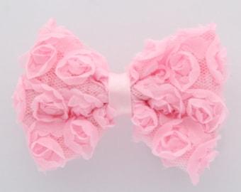 Light Pink Shabby Rose Bow