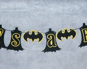"Batman ""It's a Boy"" / Super Hero Banner / Batman Baby Shower / Black and Yellow (595B)"