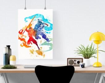 Watercolor Avatar Aang And Korra, The Last Airbender, The Legend Of Korra, Poster Art Print
