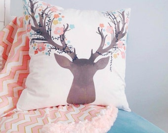 Buck cover pillow decorative cushion stag pink fawn baby nursery girl's bedroom