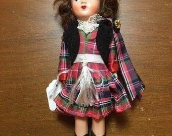 """Vintage Virga Doll 8"""" Brown Hair with Hat"""