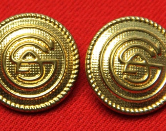 Two Men's  Collectible Gold Blazer Buttons Gold Shank