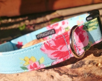 Sky Blue Vintage Rose, Cute Girl Designer Dog Collar