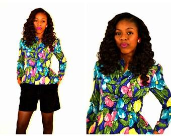 vintage floral blouse / floral blouse / vintage peplum blouse / vintage top / size 6