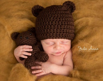 Teddy Bear Hat - All Sizes - Made to Order - Baby Hat - Brown Bear Hat - Crochet Teddy Bear Hat for Baby - Matching Siblings Hat