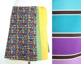 Kitchy Car Wrap Skirt- Rainbow Upcycled Wrap Skirt- Summer Knee Length Skirt- Summer Midi Skirt- Striped Midi Skirt- Repurposed Clothing
