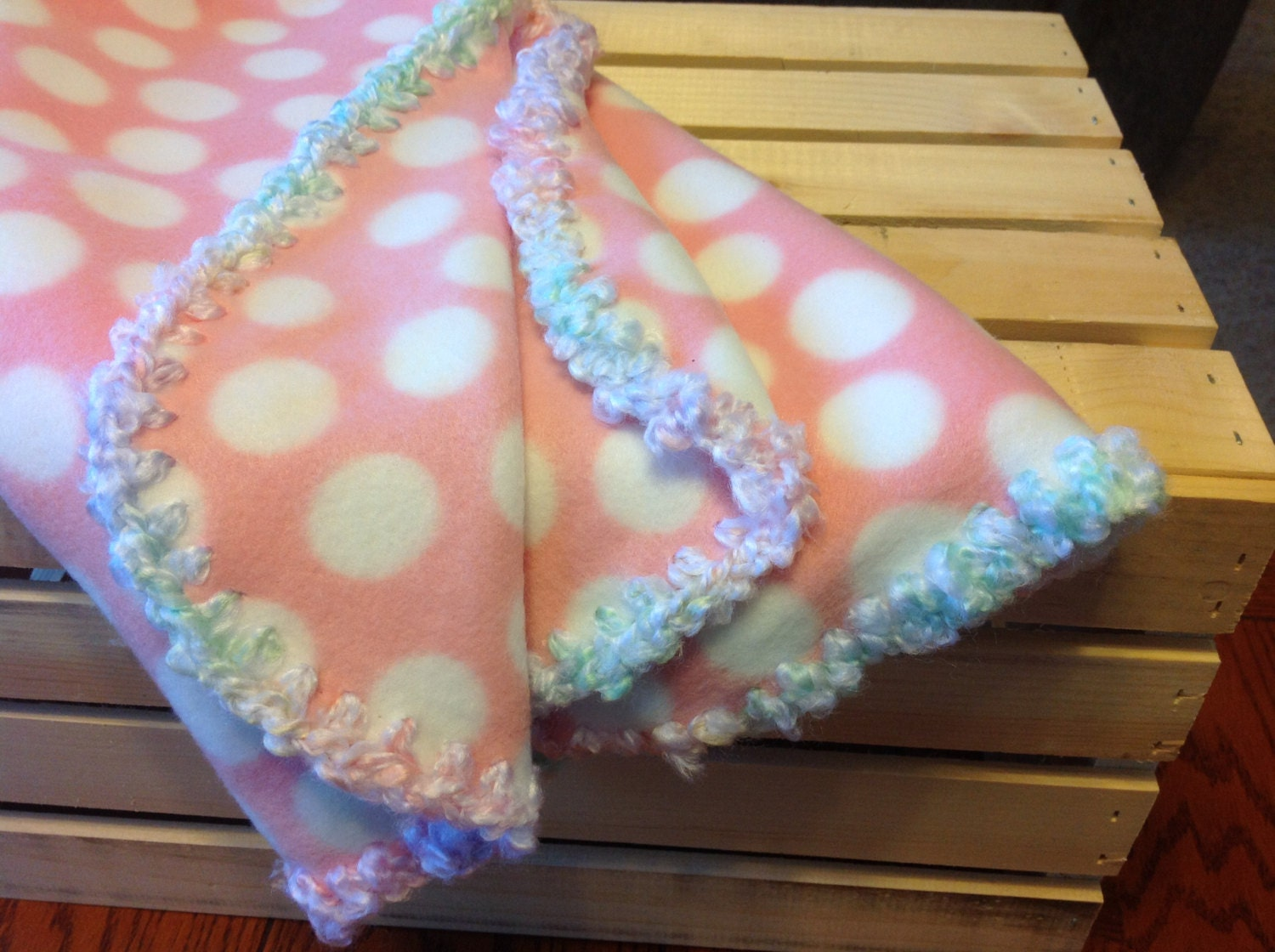Fleece blanket with crochet edge by TheSewCrate on Etsy