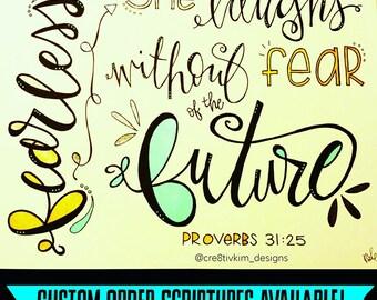 Framed Hand Lettered Bible Verse