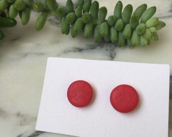 Shimmering red polymer clay earrings