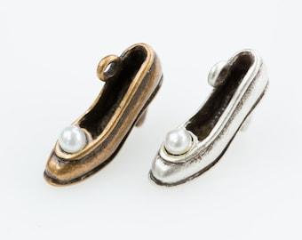 Pearl an unsung cinderella shoes pendant, DIY pendant, Brass charm, Beading supplies, handmade pendant, jewelry gift, handmade item