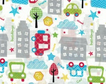 Large City Cars Toss on White Background- Urban Zoo Collection by Galaxy Fabrics