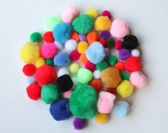 Pom poms/ Pack of 50 assorted fluffy pom poms