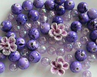 Bead Mix, Purple, Glass, Polymer Clay, Acrylic, Mixed Shapes, 8mm - 15mm