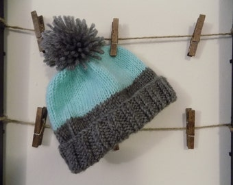Baby Hat + Light Teal Blue and Grey