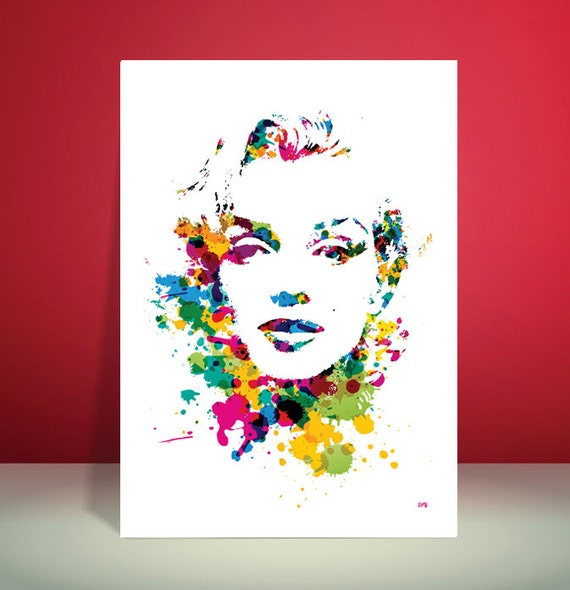 Marilyn Monroe // Paint Splatter Unique A4 / A3 Art Print