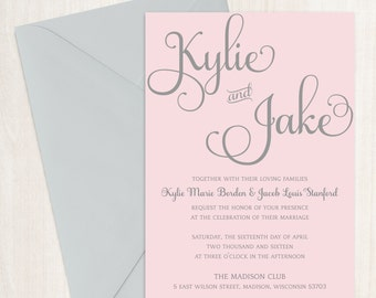 Printable Wedding Invitation Suite - The Kylie Collection in Pink & Gray or Custom Colors - DIY - PDF Invitations - Printed Invites