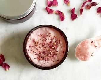 Rose & Ylang Ylang Body Scrub | 100% Natural | Sugar Scrub | Body Polish | Luxury Gifts | 8 oz