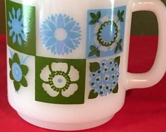 glasbake turquoise and green mug