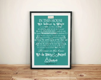 Geek (N) - In This House... We Do Harry Potter (White on Teal)