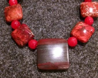 Natural Red Jasper Gemstone Necklace - Benefits Parrot Sanctuaries