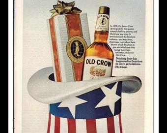 "Vintage Print Ad December 1969 : Old Crow Kentucky Straight Bourbon Whiskey Wall Art Decor 8.5"" x 11"" Advertisement"