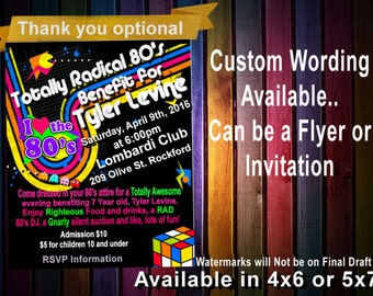 80's  Birthday Party INVITATION,80's birthday invitation,Bright color invite,80's Birthday Party, skating printable Invitation